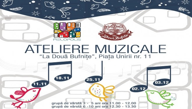 Ateliere muzicale interactive pentru copii la Librăria La Două Bufnițe