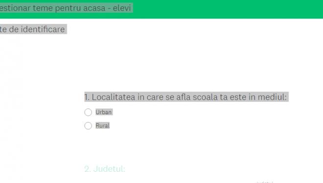 Ministerul Educației propune chestionare on-line despre temele pentru acasă