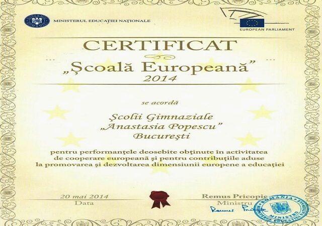 """Şcoala Gimnazială """"Anastasia Popescu"""" –   """"Scoală  Europeană"""""""