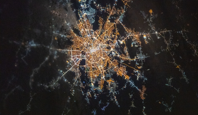 Bucureștiul, fotografiat de pe Stația Spațială Internațională