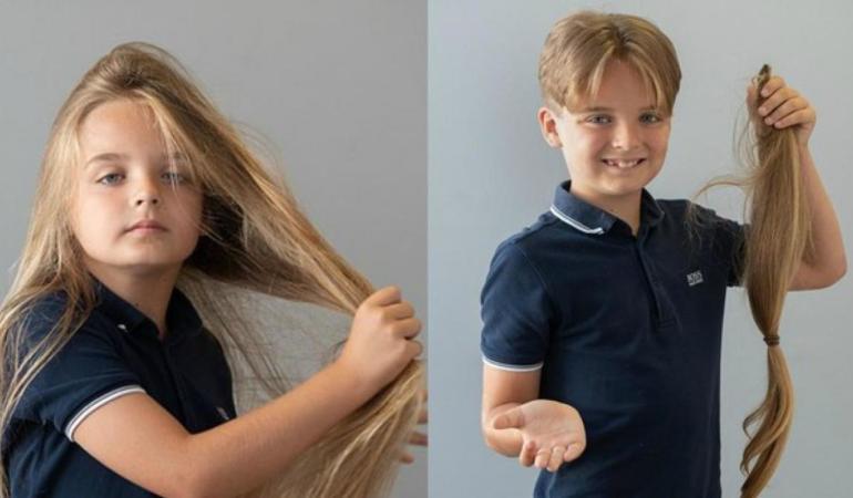Copil de nouă ani şi-a donat părul pentru bolnavii de cancer