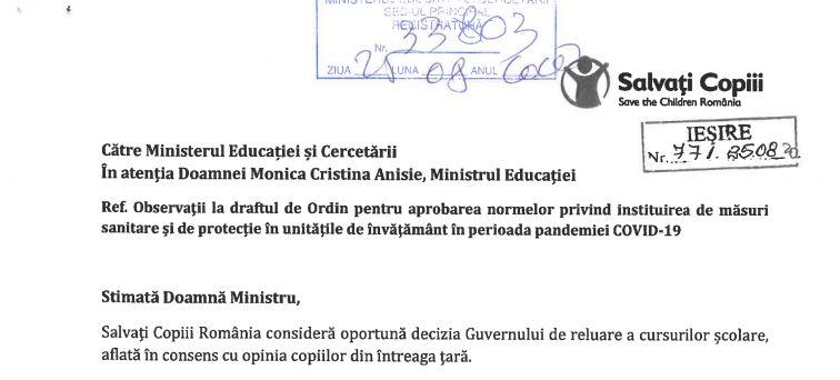 Salvați Copiii, scrisoare către Guvern: distanța de 1,5 m între elevi sau învățarea prin rotație