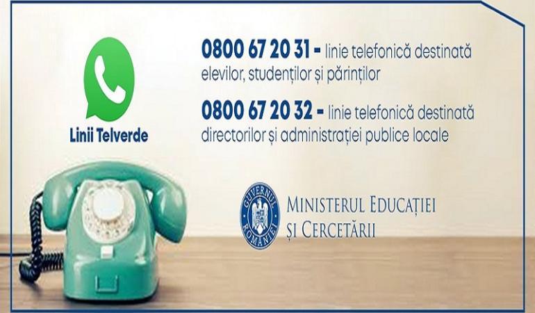 Linii Telverde gratuite pentru elevi, părinți și profesori