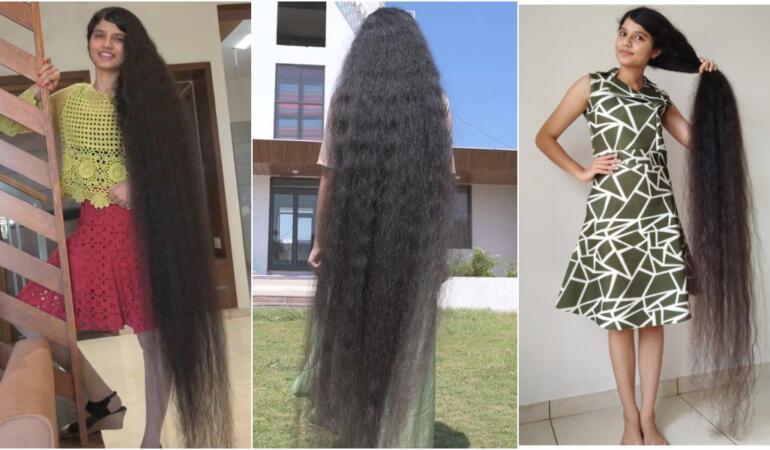 Adolescenta cu cel mai lung păr din lume. Al treilea titlu consecutiv