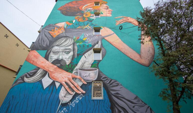 Primul poem ilustrat din Timișoara, pe peretele unui cămin studențesc