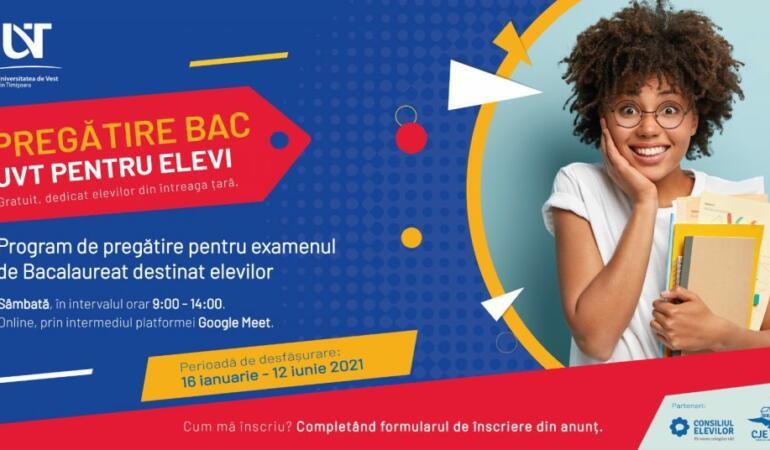 Universitatea de Vest din Timișoara organizează pregătire online pentru bacalaureat