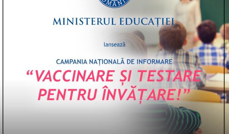 Ministerul Educației promovează vaccinarea și testarea. Secretarii de stat au pornit prin țară