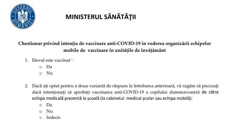 Chestionarul de exprimare a intenției de vaccinare în rândul elevilor, validat de Ministerul Sănătății